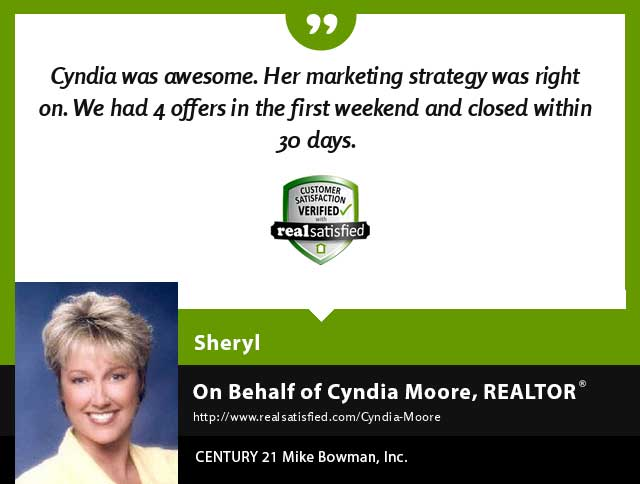 Cyndia Moore Real Estate Realtor testimonial