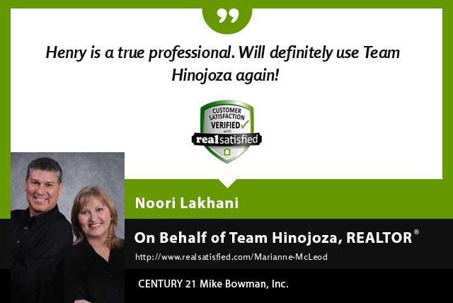 Henry Hinojoza Real Estate Realtor testimonial