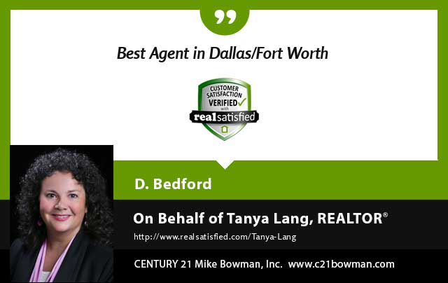 Tanya Lang Real Estate Realtor testimonial