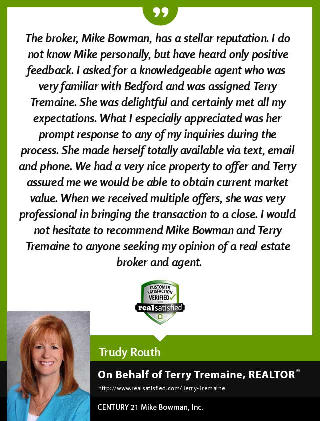 Terry Tremaine Real Estate Realtor testimonial